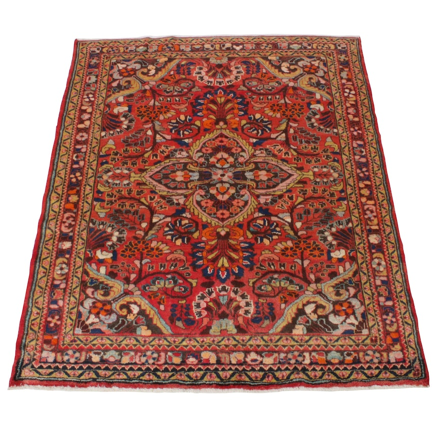 5'3 x 6'5 Hand-Knotted Persian Lilihan Rug, 1970s