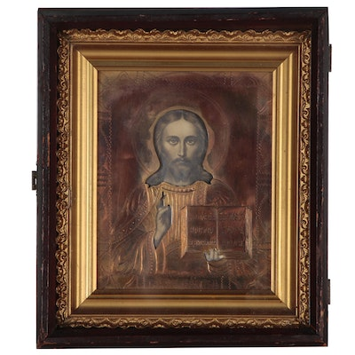 Russian Orthodox Icon Jesus Christ Pantocator with Copper Oklad, 20th Century