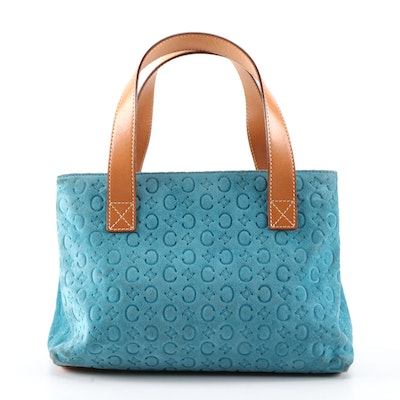 Céline Macadam Blue Suede and Tan Leather Top Handle Bag