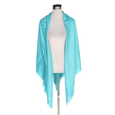 Louis Vuitton Turquoise Silk and Wool Twill Monogram Shawl