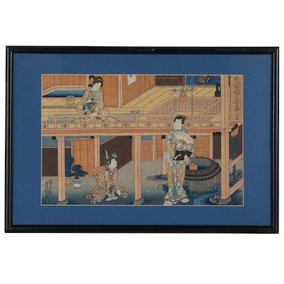 Utagawa Kunisada Ukiyo-e Woodblock of Genji, circa 1850