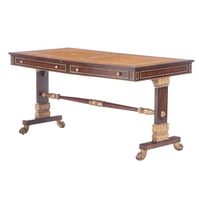 Maitland-Smith Regency Style Rosewood and Parcel-Gilt Library Table