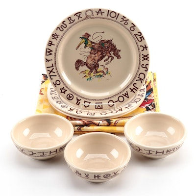 "True West ""Westward Ho"" Plates, Bowls and Tablecloth"