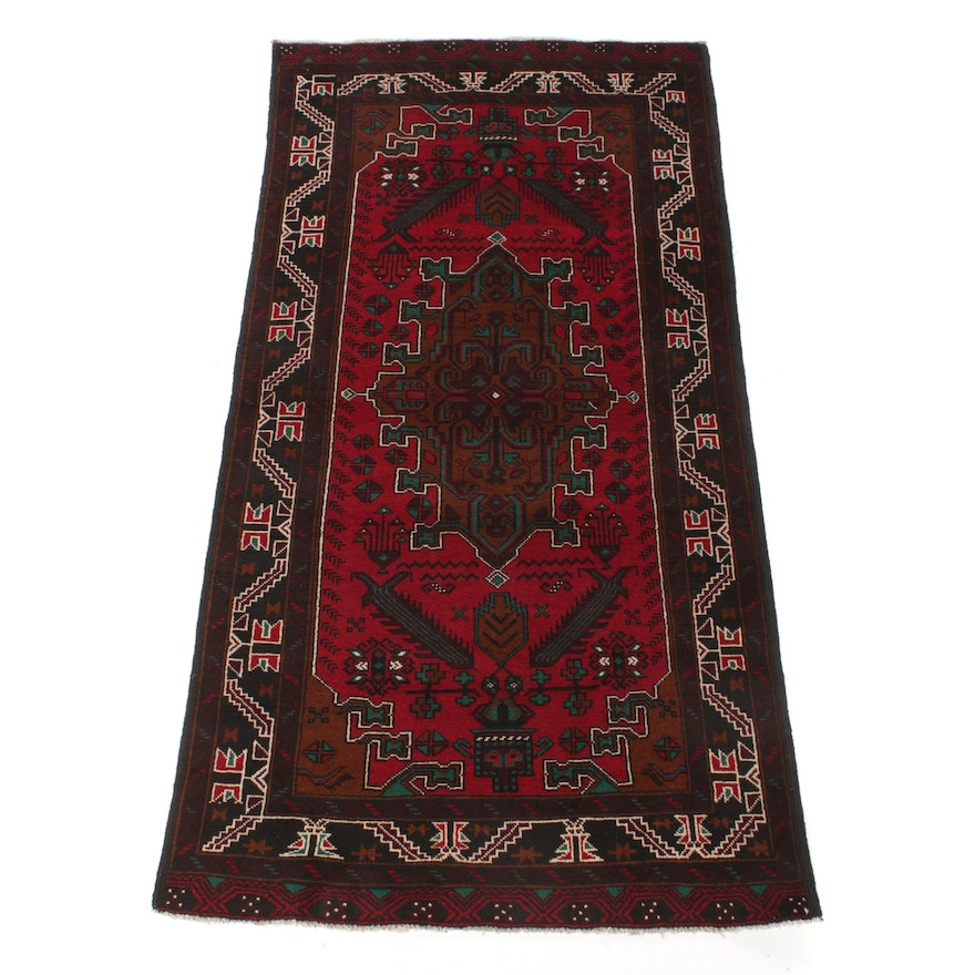 3'4 x 6'7 Hand-Knotted Persian Baluch Rug, 1990s