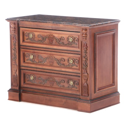 Pulaski Furniture Relief-Carved and Marble Top Bedside Chest of Drawers