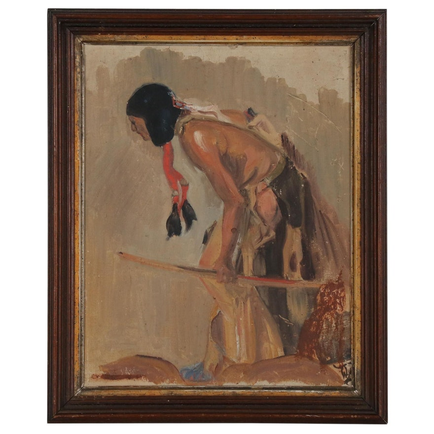 Oil Painting of a Native American, 20th Century