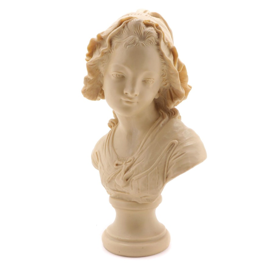 Reproduction Resin Bust of Peasant Girl after Grinam Niam