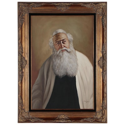David Pelbam Oil Portrait of Rabbi, Mid 20th Century