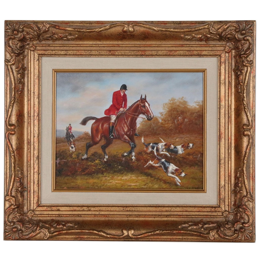 English Style Hunt Scene Oil Painting