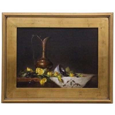"""Elizabeth Robbins Oil Painting """"Turkish Pitcher with Yellow Roses"""", 2006"""