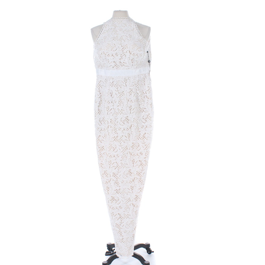 Adrianna Papell White Lace Bodycon Sleeveless Wedding Dress