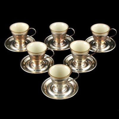 Dominick & Haff Sterling Silver Demitasse Cups and Saucers with Inserts