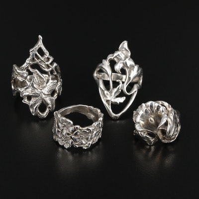 Sterling Silver Floral Themed Rings
