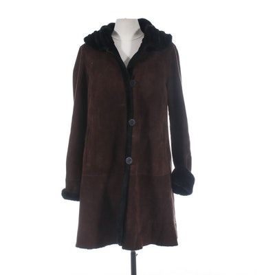 Blue Duck Brown Suede Button Front Coat with Shearling Lining