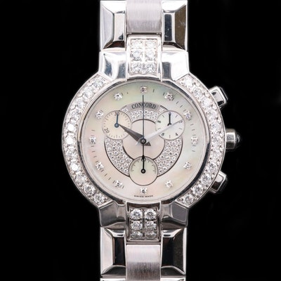 Concord La Scala 2.42 CTW Diamond and 18K Gold Chronograph Wristwatch