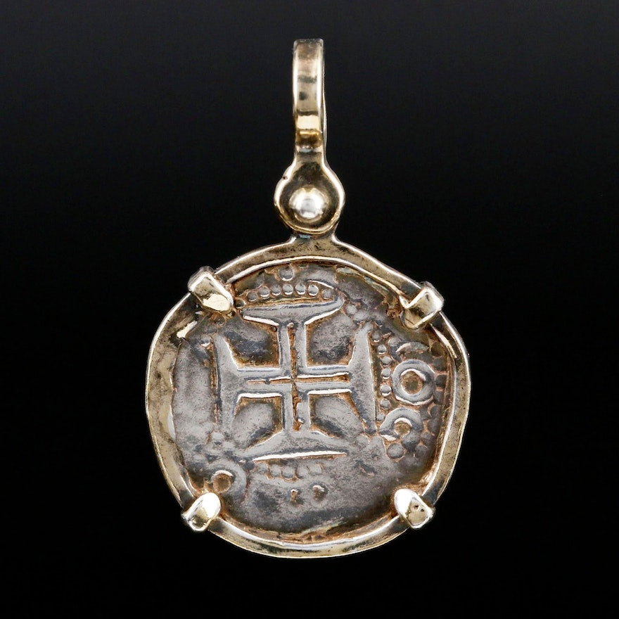 900 Silver Pendant with Replica Spanish Colonial Silver Coin