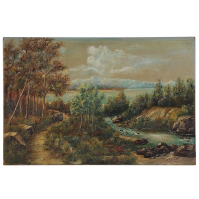 R. J. Henry Oil Landscape Painting, Mid to Late 20th Century