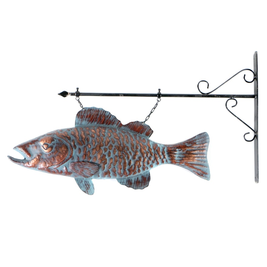 Patinated Copper Fish Hanging Sign