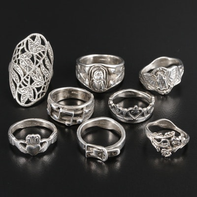 Sterling Silver Ring Selection Featuring Claddagh and Scarabs
