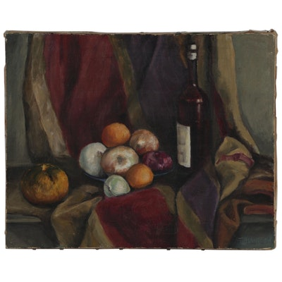 T. Hansoom Oil Still Life Painting, Mid 20th Century