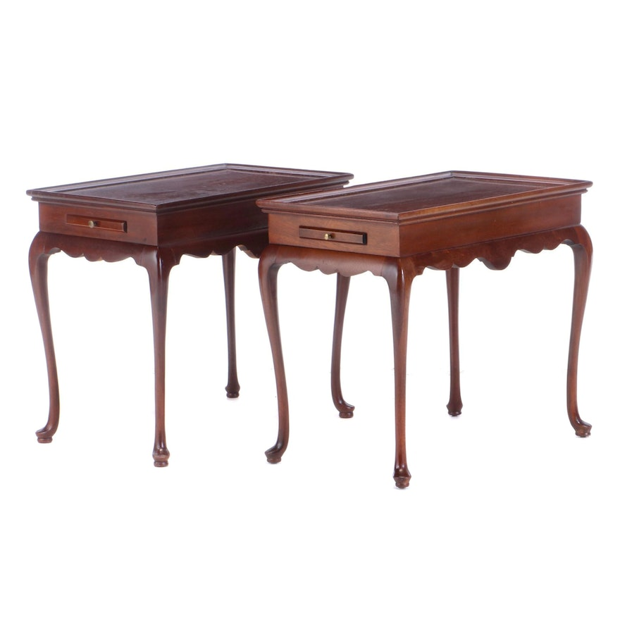 Pair of Queen Anne Style Mahogany Tray-Top Tea Tables