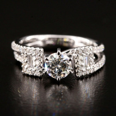 14K White Gold 1.26 CTW Diamond Ring