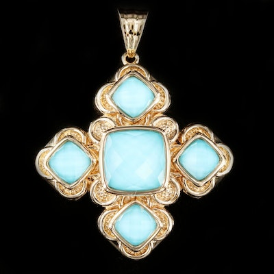 14K Gold Turquoise and Quartz Doublet Pendant