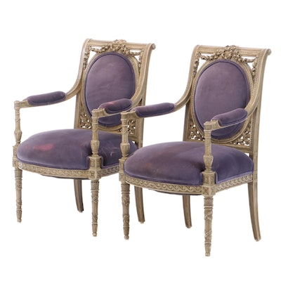 Pair of Louis XVI Style Painted and Purple Velveteen Fauteuils