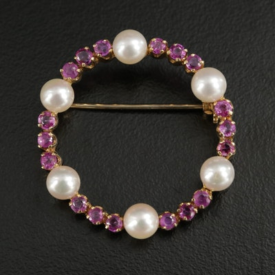 Vintage 18K Gold Ruby and Pearl Brooch