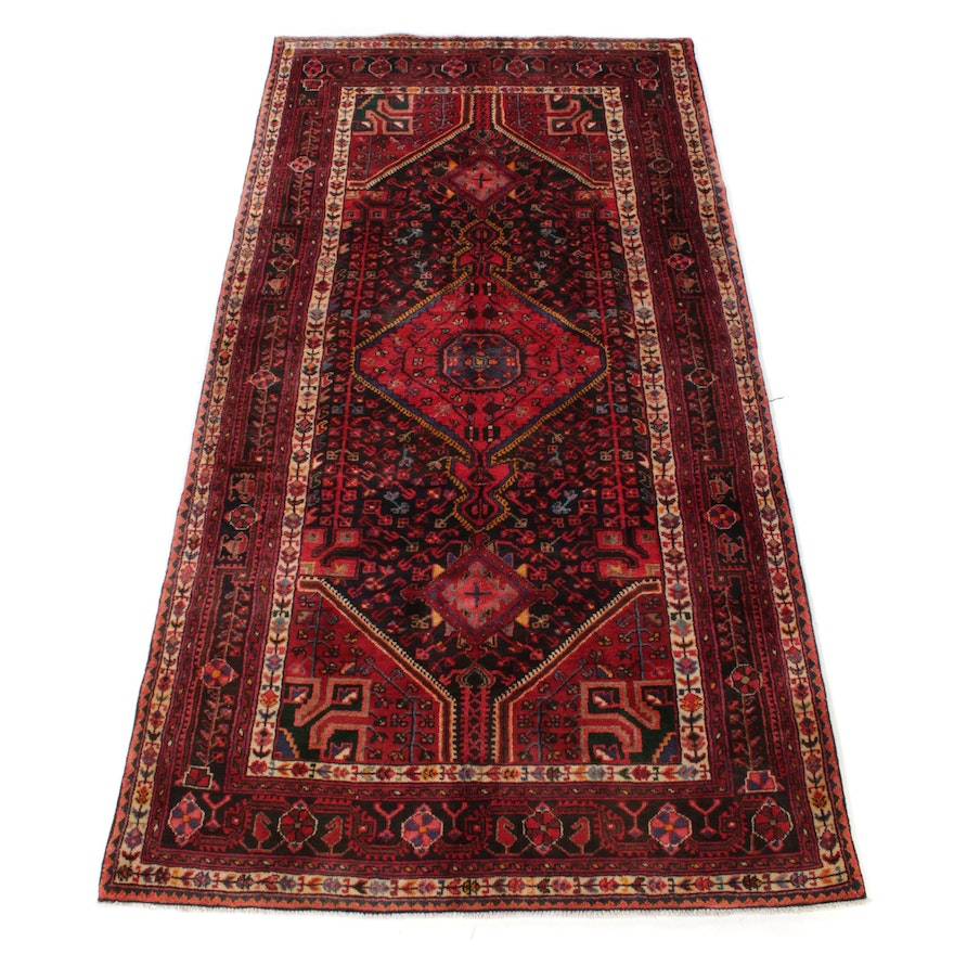 4'6 x 8'9 Hand-Knotted Persian Nahavand Rug, 1970s