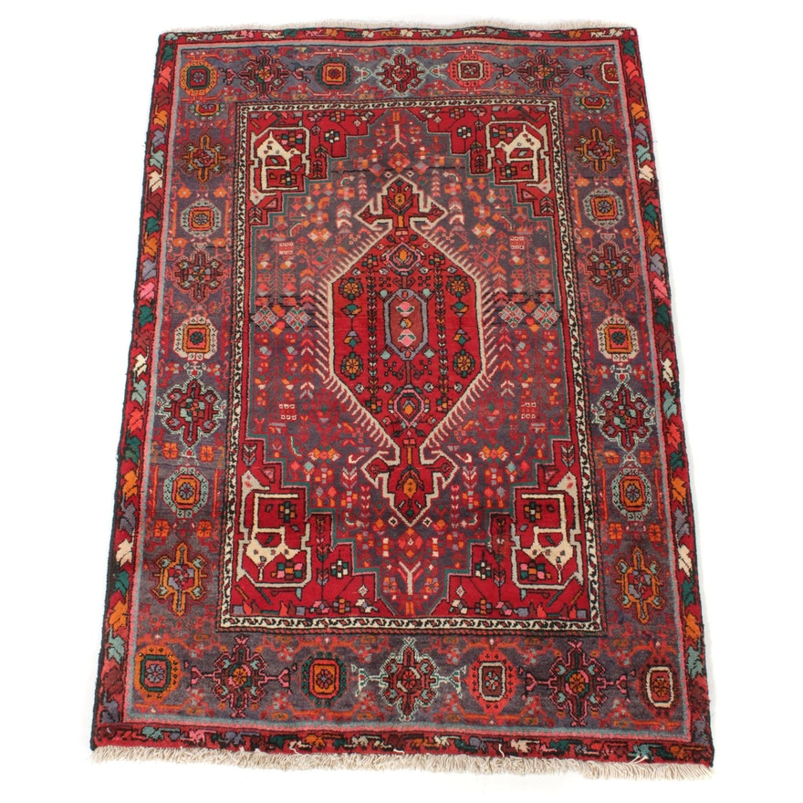 3'7 x 5'5 Hand-Knotted Persian Nahavand Rug, 1970s