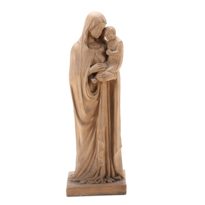 Cantagalli Terracotta Virgin and Child Sculpture, Early 20th Century
