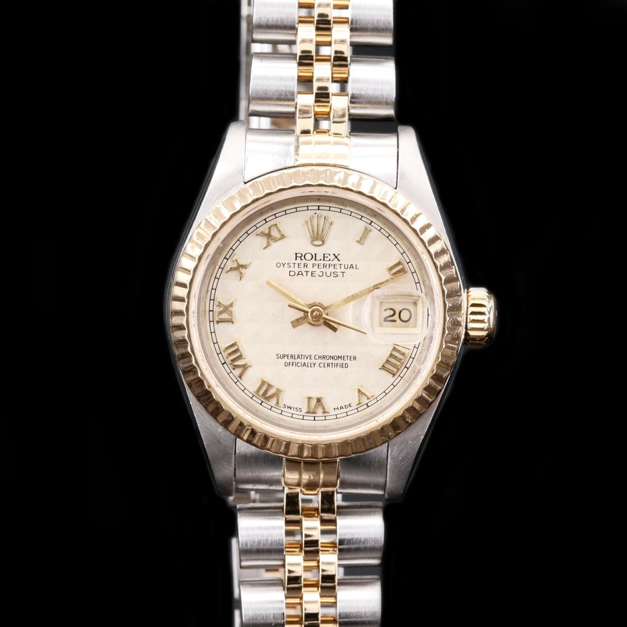 Rolex Datejust Pyramid Dial 18K Gold and Stainless Steel Automatic Wristwatch