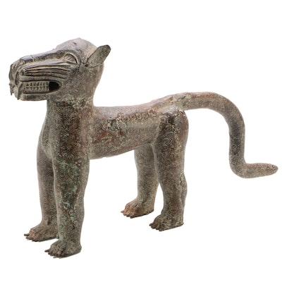Benin Bronze Figural Leopard, Probably Nigeria, 19th Century