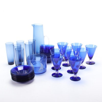 Hazel-Atlas and Other Cobalt Blue Glass Tableware Mid-20th Century