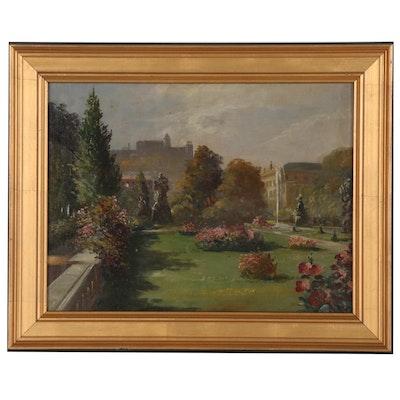 Hans Podzeit Oil Painting of Salzburg Gardens, 20th Century