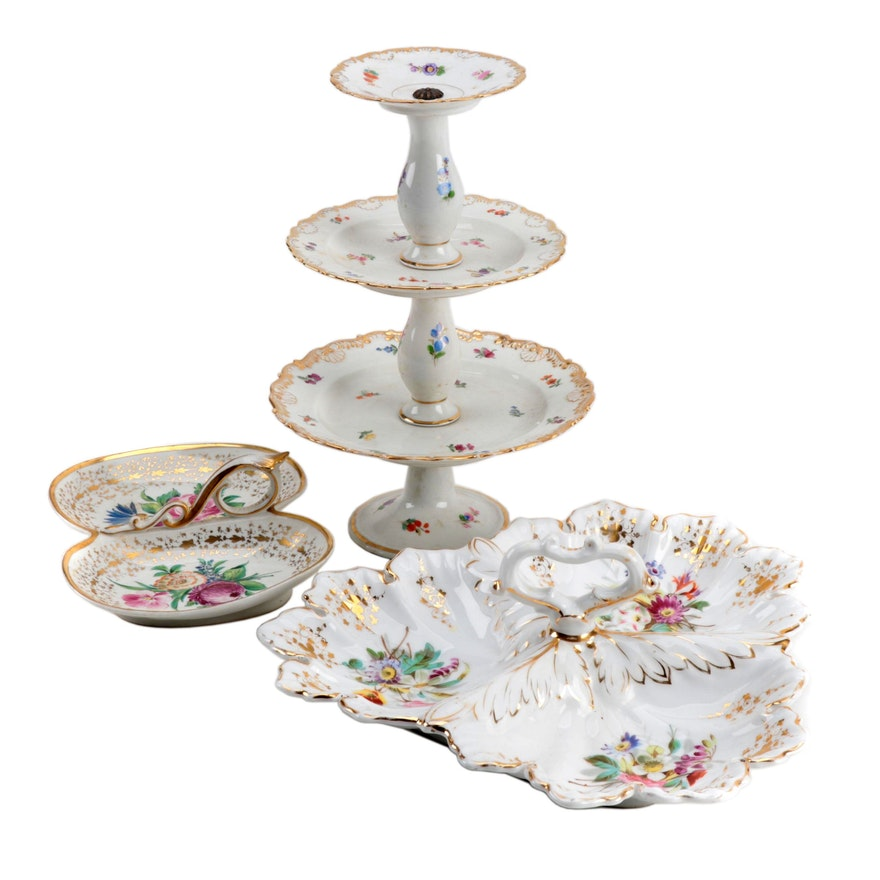 Hand-Painted Porcelain Tiered Server and Tidbit Trays, 20th Century