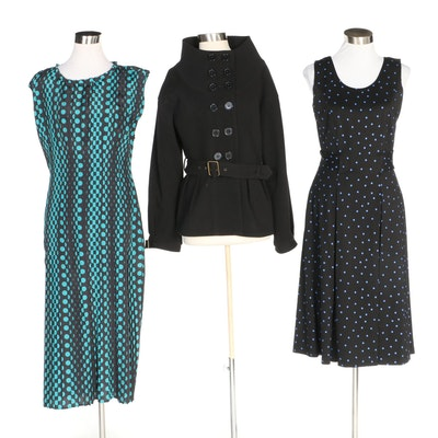 J. Peterman Black Jacket, Box Pleat Dress and Tate & Lucille Dress