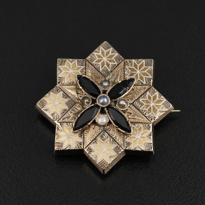 Victorian Seed Pearl and French Jet Converter Brooch