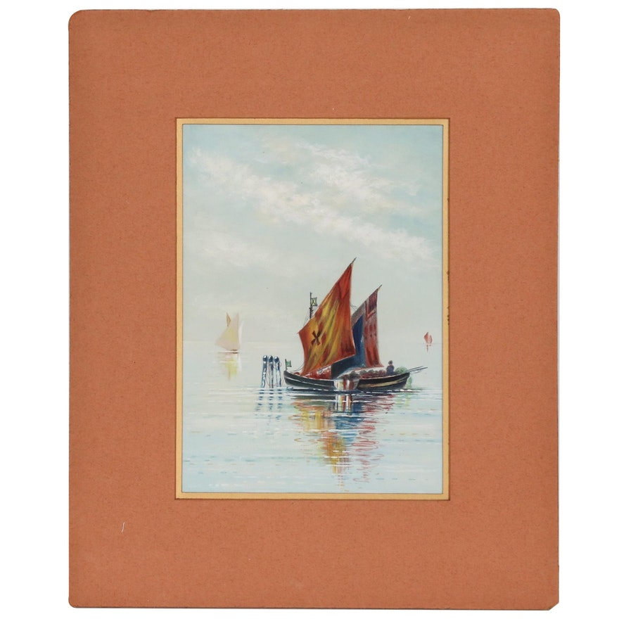 European Nautical Watercolor Painting, Mid to Late 20th Century