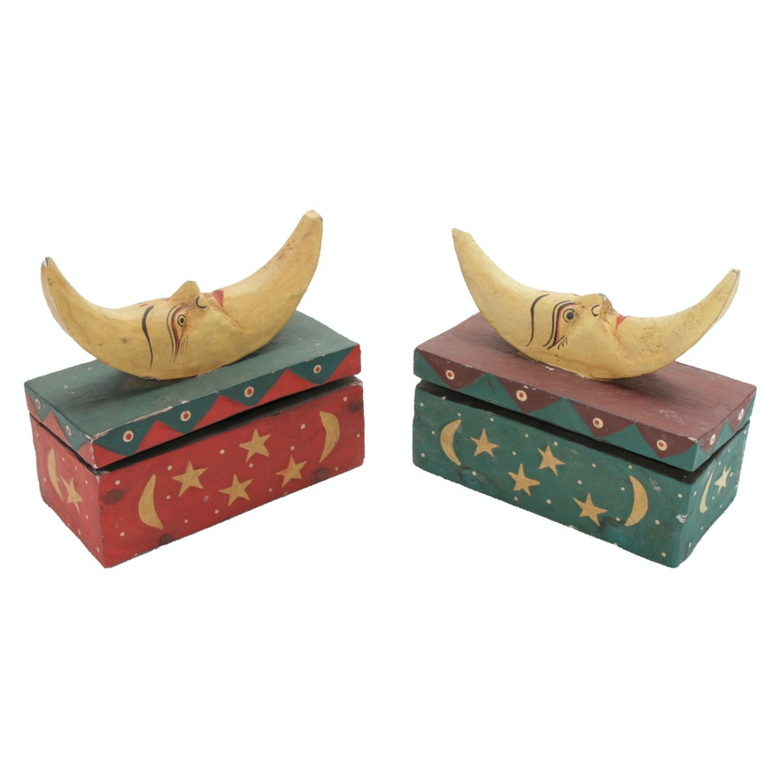 Folk Art Gessoed Wood Boxes with Crescent Moons and Stars