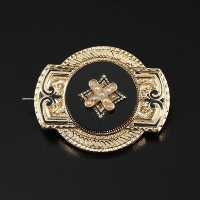 Mid-Victorian 14K Yellow Gold Seed Pearl and Black Onyx Converter Brooch