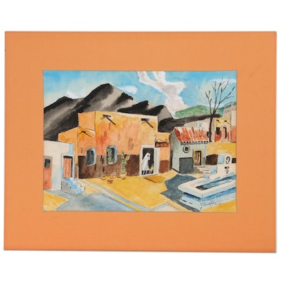 Clarise Illes Watercolor Painting of Pueblo Dwellings