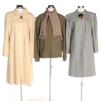 J. Peterman and Other Woolen Coats Including Cashmere Scarf