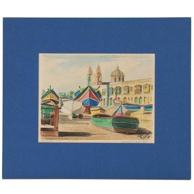 """Frank Giuliano Watercolor Painting """"Fishing Boats at Msida, Malta"""""""