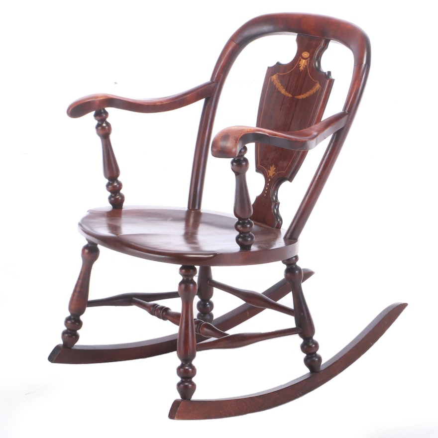 Neoclassical Style Mahogany, Birch, Marquetry, and Shell-Inlaid Rocking Armchair