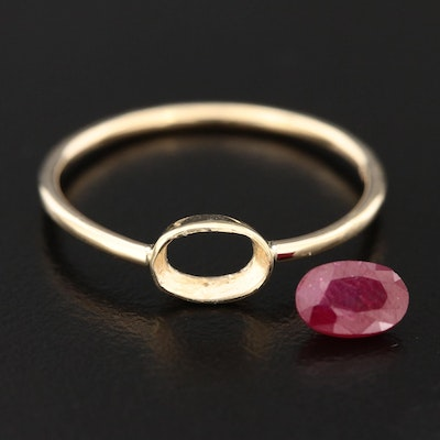 14K Yellow Gold Ruby Ring