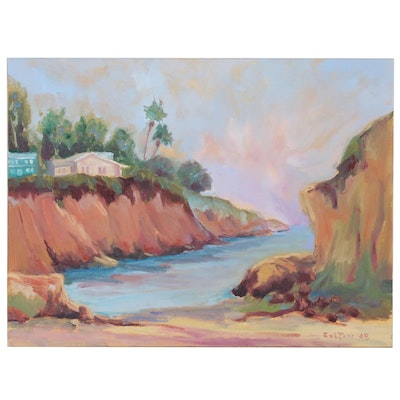 "Charles ""Chuck"" Zoltan California Coastal Landscape Oil Painting, 2008"