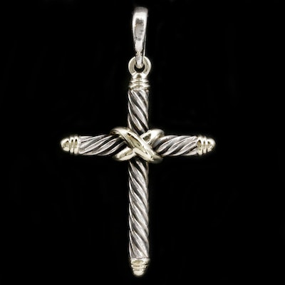 David Yurman Sterling Cross Pendant with 14K Yellow Gold Accents