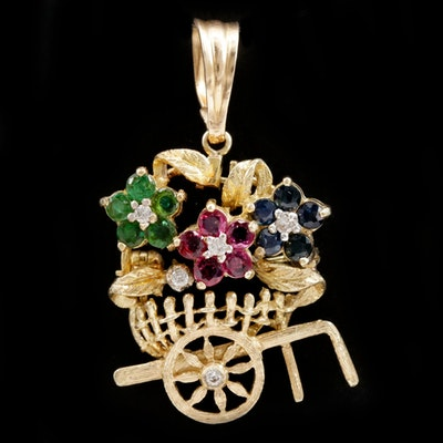 14K Yellow Gold Ruby, Sapphire and Emerald Flower Cart Converter Brooch